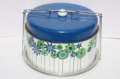 Vintage Metal Cake Carrier Blue, Green And White
