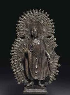 A highly important and rare bronze figure of Buddha, Gandhara, 6th-7th century, 14¼ in. (36.2 cm.) high