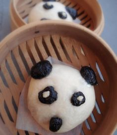 Panda shaped Chinese steamed bun