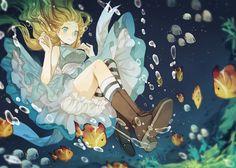 ✮ ANIME ART ✮ Alice in Wonderland. . .Alice. . .falling. . .underwater. . .bubbles. . .fish. . .dress. . .boots. . .striped socks. . .bloomers. . .cute. . .kawaii