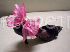 Sassy Pink Organdy Bow Designer Shoe Clips Gifts Swarovski Rhinestones | Floreti - Accessories on ArtFire. $30.78