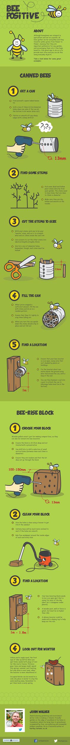 Home-made bee hotels  #infographic #Bees #DIY #Honey