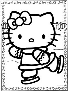 Hello Kitty disegno colorare Natale