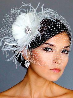 Vintage Style Brooch  Headpiece & Birdcage Bridal Veil