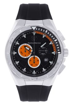 Price:$411.51 #watches Technomarine 110010, Stainless steel case, Silicone strap, Black dial, Quartz movement, Scratch-resistant mineral, Water resistant up to 20 ATM- 200 Meters- 660 Feet