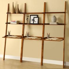 Mahogany 3-piece Leaning Laptop Shelf Set