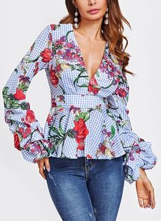 Cheap blouse blue, Buy Quality long sleeve blouse directly from China floral blouse Suppliers: SHEIN Mixed Print Plunging Peplum Top Autumn Long Sleeve Blouse Blue Plaid V Neck Puff Sleeve Zipper Back Floral Blouse Mélanger Les Impressions, Fashion Clothes, Fashion Outfits, Fashion Top, Fashion Spring, Coats For Women, Clothes For Women, Mixing Prints, Woman Outfits