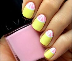Top 150 ideas for Yellow Nail art designs - Reny styles Nail Art Designs, Fruit Nail Designs, Acrylic Nail Designs, Acrylic Nails, Nails Design, Marble Nails, Gel Nail Art, Nail Art Diy, French Nails