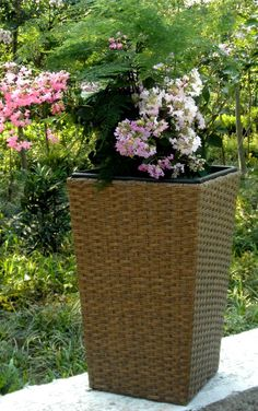 Sweetgrass Rattan Planter in Tan Rattan Planters, Outdoor Gardens, Outdoors, Plants, Gardens, Planters, Outdoor, Plant, Planting