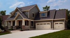 Love everything about this! Color scheme, garage doors, siding materials, etc.   Carriage doors stone pillars