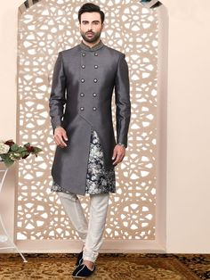 Dark Grey Imported Fabric Silk Sherwani Suit - Wedding And Engagement Sherwani For Men Wedding, Wedding Dresses Men Indian, Wedding Dress Men, Nigerian Men Fashion, Indian Men Fashion, Mens Fashion Suits, Mens Suits, Mens Indian Wear, Mens Ethnic Wear
