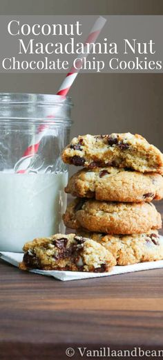 Chewy inside with a slight crunch outside, Coconut Macadamia Nut Chocolate Chip Cookies have texture, flavor and go above and beyond your typical chocolate chip cookie! | Recipe | Dessert | Vanilla And Bean