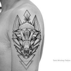 done for today.. #twinmonkeytattoo #tattoo #wolf #geometric #line #dott #ink…