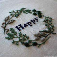Happy embroidery wreath   Yumiko Higuchi: