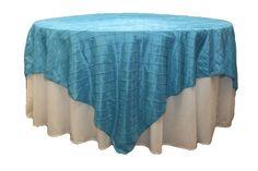 "Pintuck 90"" square Table Overlay - Aqua"
