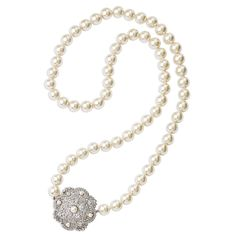 Jacqueline Kennedy Jewelry : Filigree and Simulated Pearl Necklace. Handed down from her Mother, lots of Jackie's jewelry was from her Mother who had Coco Chanel make it for her. This piece was made in early 1900's.