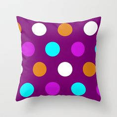 POLKA DOTTED-PURPLE Throw Pillow