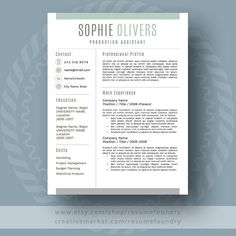 Resume Design : Stylish Resume Template / CV Template Cover by ResumeFoundry - Resumes. Modern Resume Template, Cv Template, Resume Templates, Templates Free, Design Templates, Blogger Templates, Cover Letter For Resume, Cover Letter Template, Letter Templates