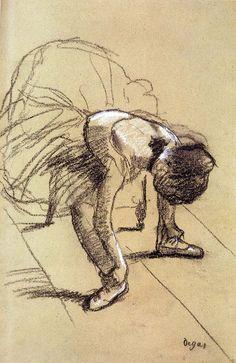 Seated Dancer Adjusting Her Shoes by @edgar_degas #impressionism
