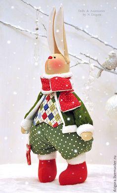 Игрушки животные, ручной работы. Рождественский кролик Кристофер. Дзигора Наталья. Интернет-магазин Ярмарка Мастеров. Зайцы, заяц новогодний