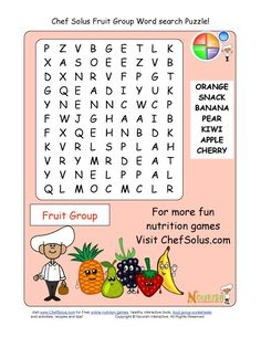 Printable - Word Search Puzzle - Fruit Group