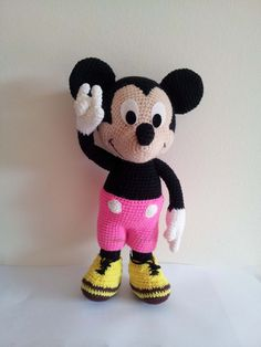 """Mickey  Mouse 8""""  - Handmade crochet doll birthday gift, Baby shower toy. by Solutions2511"""