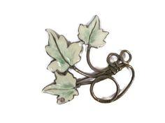 Vintage Leaf Brooch 1960's Enamel Leaf Brooch by ThirstyOwlVintage