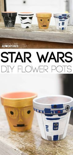 Super Idee - Blumentopf im Star Wars Style anmalen *** DIY Star Wars garden flower pot tutorial We are huge fans of Star Wars! With May the Forth coinciding with the start of gardening season, I thought it would be fun to celebrate by making some DIY Star Star Wars Crafts, Geek Crafts, Fun Crafts, Crafts For Gifts, Etsy Crafts, Diy Gifts, Theme Star Wars, Star Wars Party, Star Wars Decor