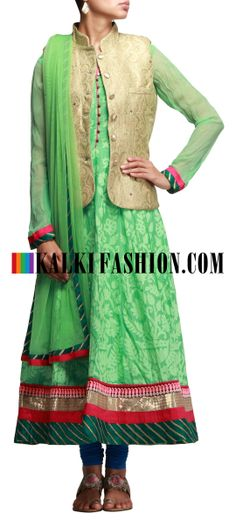 Buy Online from the link below. We ship worldwide (Free Shipping over US$100) http://www.kalkifashion.com/green-anarkali-suit-with-banarasi-waist-coat.html Green anarkali suit with banarasi waist coat