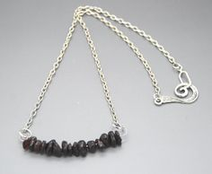 Deep Red Natural Garnet Chip Focal Short Necklace by NecklaceNurse