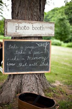 Such a lovely sign for a photo booth right in the woods #wedding #photobooth #woodland #forest #rustic
