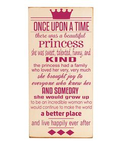 So sweet!! Take a look at this Cream & Pink 'Once Upon a Time' Wall Art by Vinyl Crafts on #zulily today!