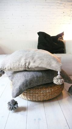 Image of Moroccan POM POM pillow cover - wool natural undyed Grey