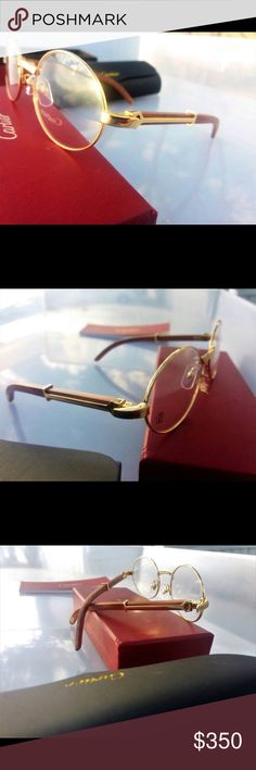 70b5c49708 Vintage Cartier Wooden Sunglasses Vintage Cartier Sunglasses in brand new  condition. Comes in box with a pouch and cleaning cloth included Cartier ...