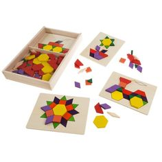 10 Simply-designed, colourful patterns by Melissa and Doug! Melissa and Doug Pattern Blocks & Boards keeps children engaged Wooden Pattern, Wood Storage Box, Wooden Shapes, Wooden Case, Wooden Blocks, Stem Activities, Therapy Activities, Building Toys, Pattern Blocks