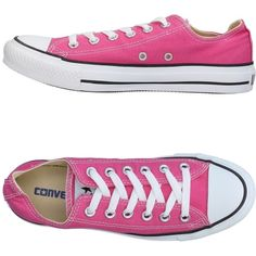 Converse All Star Low-tops & Sneakers ($87) ❤ liked on Polyvore featuring shoes, sneakers, pink, converse sneakers, round toe sneakers, flat shoes, converse shoes and pink sneakers
