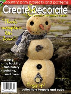 """Create & Decorate - Country Primitive Crafts Jan/Feb. 2013 - """"The Quilted Crow Quilt Shop, folk art quilt fabric, quilt patterns, quilt kits, quilt blocks"""