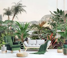 Turn your living room into a jungle paradise with this wallpaper by GROEN Wallpaper, Strand. Cactus Plants, Furniture Decor, Paradise, Living Room, Wallpaper, Cacti, Wallpapers, Cactus, Home Living Room