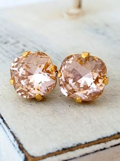 Blush pink Swarovski crystal stud earrings  by EldorTinaJewelry