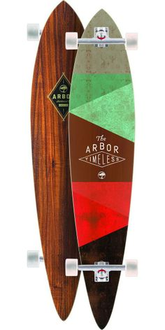 Arbor Timeless Koa Longboard Skateboard Complete - 2014 The Arbor Timeless Koa is a top mount pintail shape that will be perfect for anyone who wants to start getting into all aspects of the longboarding world. It features a ton of control with its top mount design for weaving in and around any obstacle that could be in your way. The effective foot platform is awesome for maneuvering around and finding out how your feet correlate to the concave on the board.