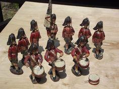 10 ELASTOLIN German Composition prewar Scottish Marching Toy Drummer & Soldiers #Elastolin