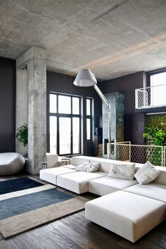 Home Loft Apartment Design by Group Minimalist Interior Design For Living Room With White Sectional Sofa arch lamp and grey rug Interior Exterior, Home Interior, Interior Architecture, Interior Decorating, Industrial Decorating, Decorating Ideas, Industrial Furniture, Decor Ideas, Apartment Interior