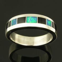 Handmade Australian Opal and Black Onyx Ring by Hileman Silver