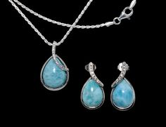 Larimar Earings Necklace Set. Three 10X14mm Pear Shaped  .925 Sterling Silver