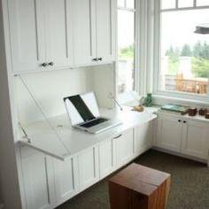 Home Study Furniture & Home Office Furniture Hidden Desk, Built In Desk, Built In Cabinets, Diy Cabinets, Built In Cupboards Living Room, Office Cabinets, Storage Cabinets, Home Office Space, Home Office Design