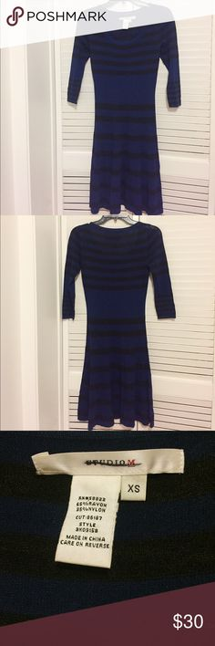 🆕Studio M Black and Blue Striped Dress NWOT never worn Studio M dress with black and blue stripes, scoop neck, and ¾ sleeves. Great dress for fall and winter and looks great with boots! 🌟Open to reasonable offers!🌟 Studio M Dresses Midi