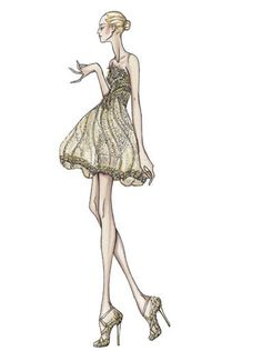 Atelier Versace Spring 2009.  Mini cage shaped dress made from gold silk tulle  Embroidered bodice with feathers hand painted and metallic sequins in complementing shades of gold