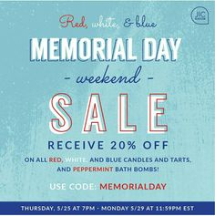 Red, White & Blue  Starting tonight at 7:00 PM ET your customers can enjoy a 20% savings on all candles and tarts that are red, white or blue.  Along with the wax products, they will also receive 20% off on our JIC NaturalsPeppermint bath bombs.  https://www.jewelryincandles.com/store/jennifersjicsuprises