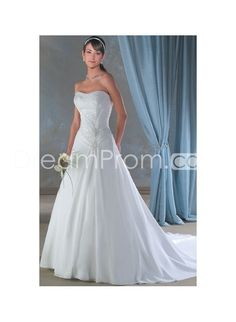 Elegant Strapless Neckine with Beaded Bodice and A line Skirt Hot Sell Chapel Train Wedding Dress WB-0058