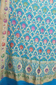 Blue Banarasi Bandhani Meenakari Pure Georgette Dupatta    #Dupatta#puregeorgette#traditional#designerwear#handloom#madeinindia#indianfashion#suits#chunni#womenwear#meenakari#